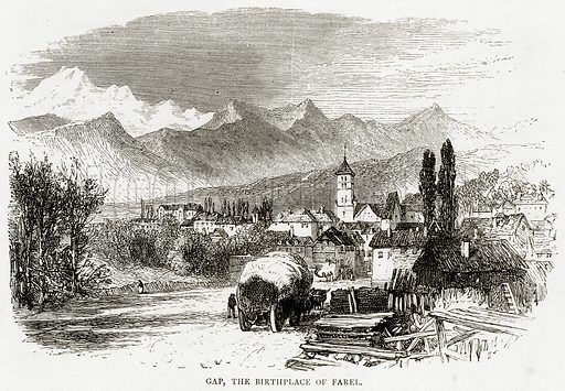 Gap, the Birthplace of Farel. Illustration from Swiss Pictures by Samuel Manning (Religious Tract Society, c 1870).