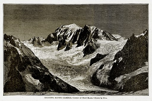 Existing Alpine Glacier.--Summit of Mont Blanc. Illustration from With the World