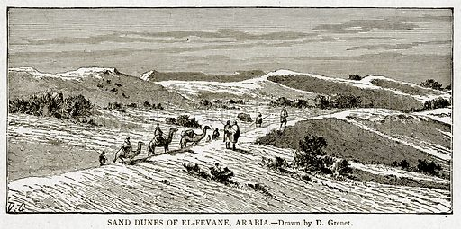 Sand Dunes of El-Fevane, Arabia. Illustration from With the World