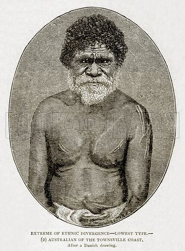 Extreme of Ethnic Divergence--lowest type.--(2) Australian of the Townsville Coast. Illustration from With the World's People by John Clark Ridpath (Clark E Ridpath, 1912).