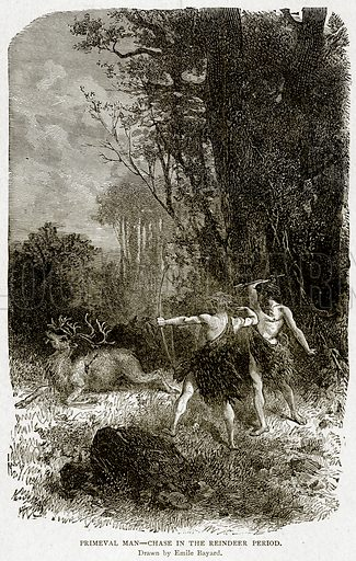 Primeval Man--Chase in the Reindeer Period. Illustration from With the World
