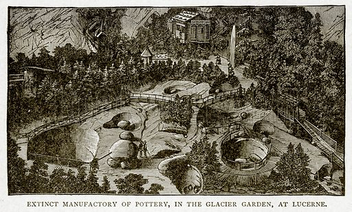 Extinct Manufactory of Pottery, in the Glacier Garden, at Lucerne. Illustration from With the World
