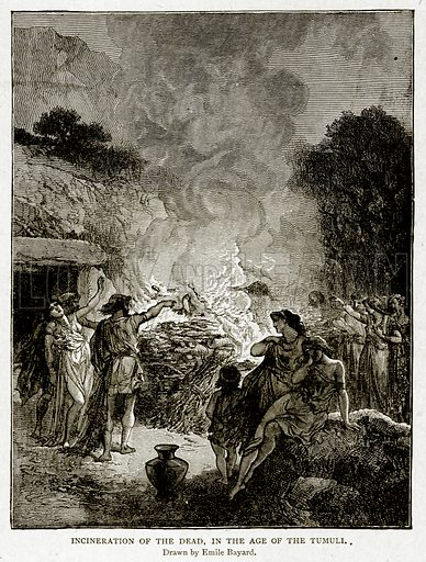 Incineration of the dead, in the Age of the Tumuli. Illustration from With the World
