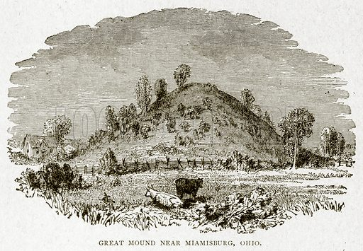 Great Mound near Miamisburg, Ohio. Illustration from With the World