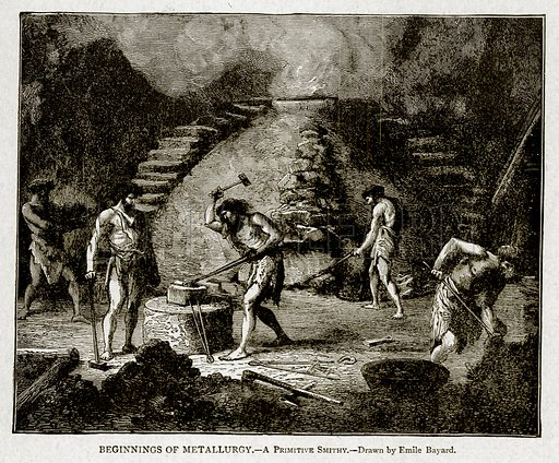 Beginnings of Metallurgy.--A Primitive Smithy. Illustration from With the World