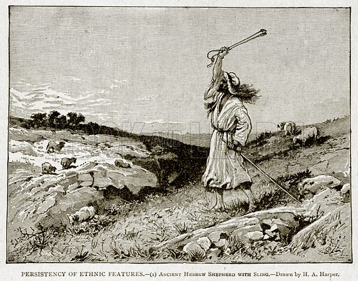 Persistency of Ethnic Features.--(1) Ancient Hebrew Shepherd with Sling. Illustration from With the World's People by John Clark Ridpath (Clark E Ridpath, 1912).