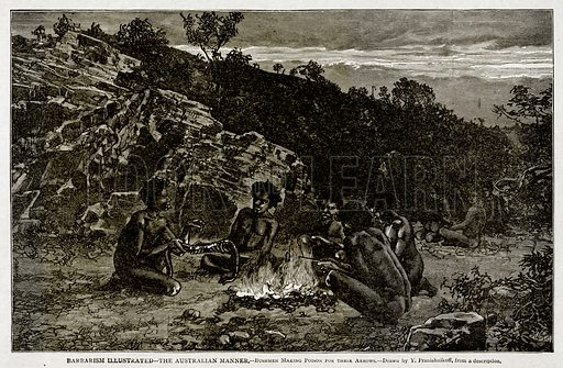 Barbarism Illustrated--The Australian Manner.--Bushmen Making Poison for their arrows. Illustration from With the World