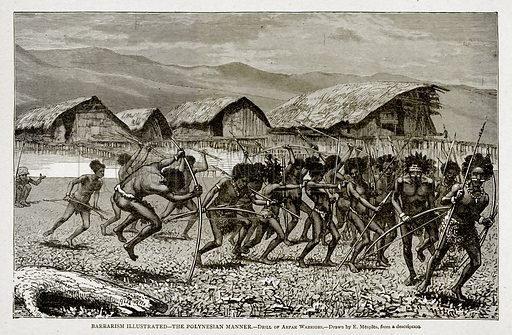 Barbarism Illustrated.--The Polynesian Manner.--Drill of Arfak Warriors. Illustration from With the World