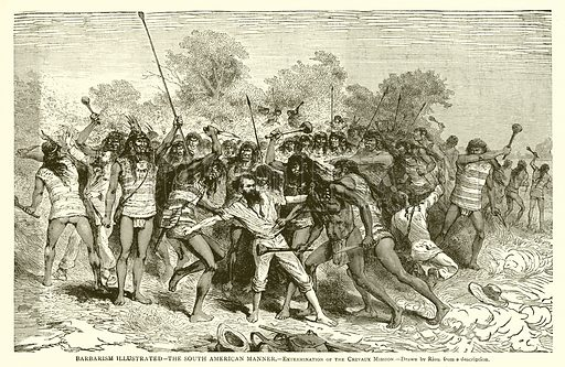 Barbarism Illustrated – The South American Manner. – Extermination of the Crevaux Mission. Illustration from With the World's People by John Clark Ridpath (Clark E Ridpath, 1912).