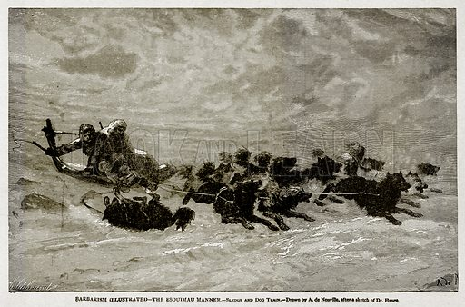 Barbarism Illustrated--The Esquimau Manner.--Sledge and Dog Train. Illustration from With the World