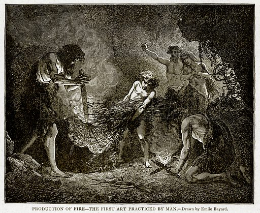Production of Fire--The First Art Practiced by man. Illustration from With the World