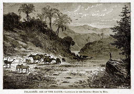 Palaeozoic Age of the Earth.--Landscape of the Eocene. Illustration from With the World's People by John Clark Ridpath (Clark E Ridpath, 1912).