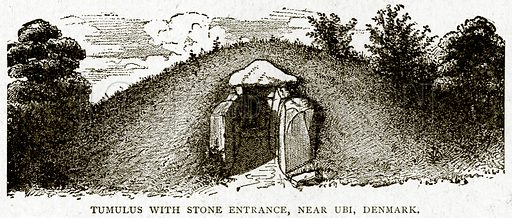 Tumulus with Stone Entrance, near UBI, Denmark. Illustration from With the World