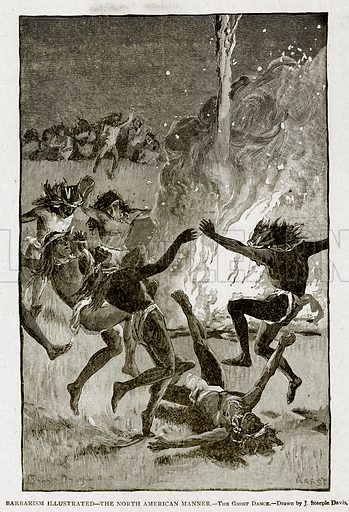 Barbarism Illustrated--The North American Manner.--The Ghost Dance. Illustration from With the World