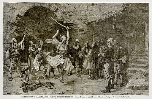 Semibarbarism Illustrated--North African Manner.--Sword Dance of the Moors. Illustration from With the World
