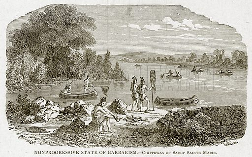 Nonprogressive State of Barbarism.--Chippewas of Sault Sainte Marie. Illustration from With the World
