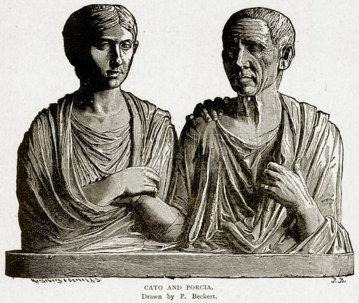 Cato and Porcia. Illustration from With the World's People by John Clark Ridpath (Clark E Ridpath, 1912).