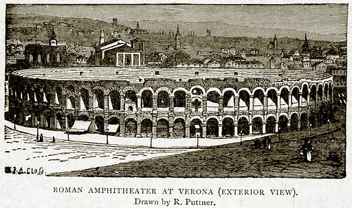 Roman Amphitheater at Verona (Exterior view). Illustration from With the World's People by John Clark Ridpath (Clark E Ridpath, 1912).