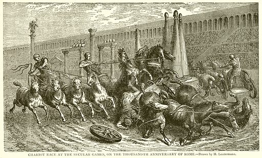 Chariot Race at the Secular Games, on the Thousandth Anniversary of Rome. Illustration from With the World's People by John Clark Ridpath (Clark E Ridpath, 1912).