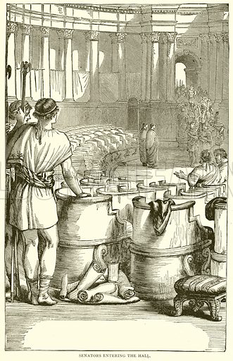 Swnators entering the Hall. Illustration from With the World's People by John Clark Ridpath (Clark E Ridpath, 1912).