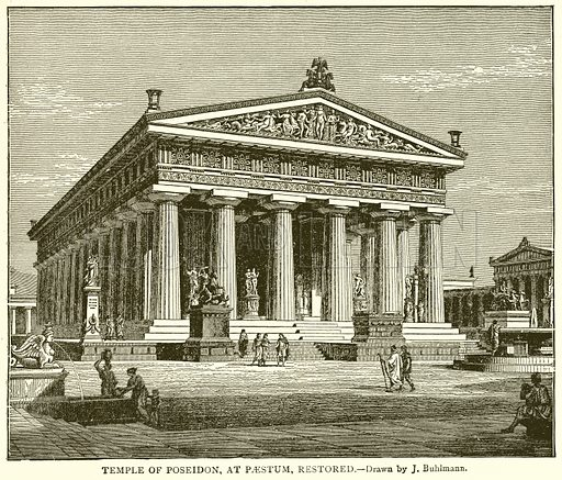 Temple of Poseidon, at Paestum, Restored. Illustration from With the World's People by John Clark Ridpath (Clark E Ridpath, 1912).