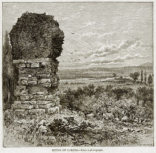 Ruins of Sardis. Illustration from With the World's People by John Clark Ridpath (Clark E Ridpath, 1912).