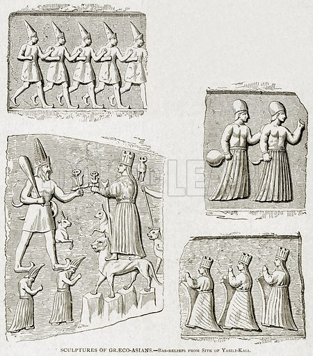 Sculptures of Graeco-Asians.--Bas-Reliefs from Site of Yasili-Kaia. Illustration from With the World's People by John Clark Ridpath (Clark E Ridpath, 1912).