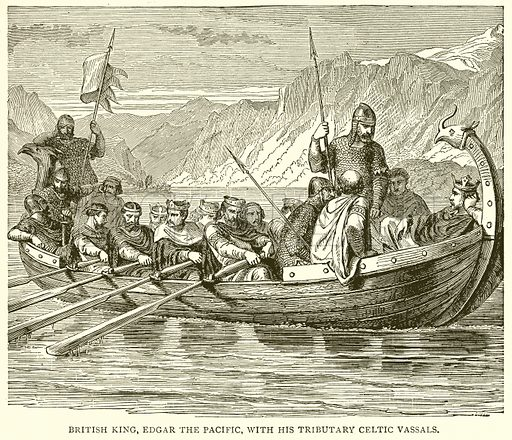British King, Edgar the Pacific, with his Tributary Celtic Vassals. Illustration from With the World's People by John Clark Ridpath (Clark E Ridpath, 1912).