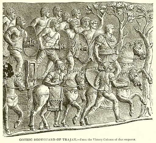 Gothic Bodyguard of Trajan. Illustration from With the World's People by John Clark Ridpath (Clark E Ridpath, 1912).