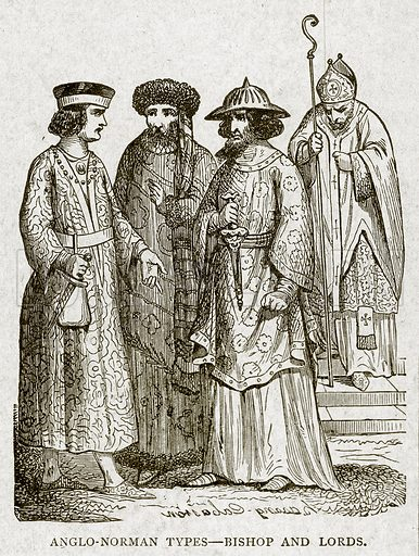 Anglo-Norman Types--Bishop and Lords. Illustration from With the World's People by John Clark Ridpath (Clark E Ridpath, 1912).