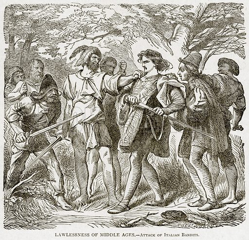 Lawlessness of Middle Ages.--Attack of Italian Bandits. Illustration from With the World's People by John Clark Ridpath (Clark E Ridpath, 1912).