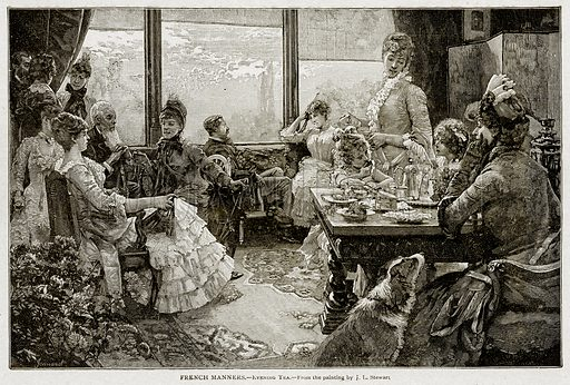 French Manners. – Evening Tea. Illustration from With the World's People by John Clark Ridpath (Clark E Ridpath, 1912).