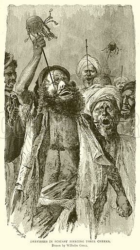 Dervishes in Ecstasy Piercing their Cheeks. Illustration from With the World's People by John Clark Ridpath (Clark E Ridpath, 1912).