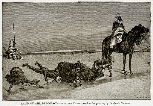 Land of Ahl Bedou. – Thirst in the Desert. Illustration from With the World's People by John Clark Ridpath (Clark E Ridpath, 1912).