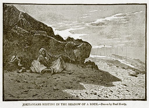 Joktanians Resting in the Shadow of a Rock. Illustration from With the World's People by John Clark Ridpath (Clark E Ridpath, 1912).
