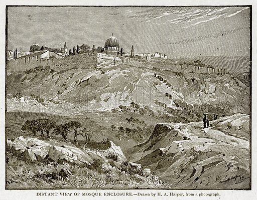 Distant view of Mosque Enclosure. Illustration from With the World's People by John Clark Ridpath (Clark E Ridpath, 1912).