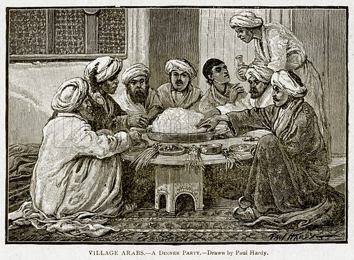 Village Arabs.--A Dinner Party. Illustration from With the World's People by John Clark Ridpath (Clark E Ridpath, 1912).