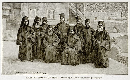 Arabian Monks of Sinai. Illustration from With the World's People by John Clark Ridpath (Clark E Ridpath, 1912).
