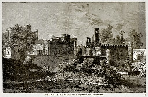 Royal Palace of Gondar. Illustration from With the World's People by John Clark Ridpath (Clark E Ridpath, 1912).