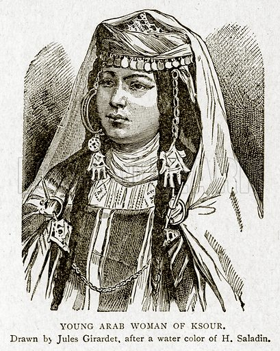 Young Arab Woman of Ksour. Illustration from With the World's People by John Clark Ridpath (Clark E Ridpath, 1912).