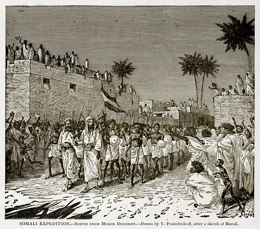 Somali Expedition. – Sortie from Mogue Douchow. Illustration from With the World's People by John Clark Ridpath (Clark E Ridpath, 1912).