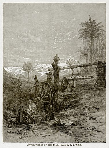 Water Wheel of the Nile. Illustration from With the World's People by John Clark Ridpath (Clark E Ridpath, 1912).