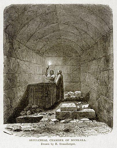 Sepulcharl Chamber of Menkara. Illustration from With the World's People by John Clark Ridpath (Clark E Ridpath, 1912).