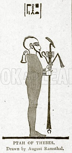 Ptah of Thebes. Illustration from With the World's People by John Clark Ridpath (Clark E Ridpath, 1912).