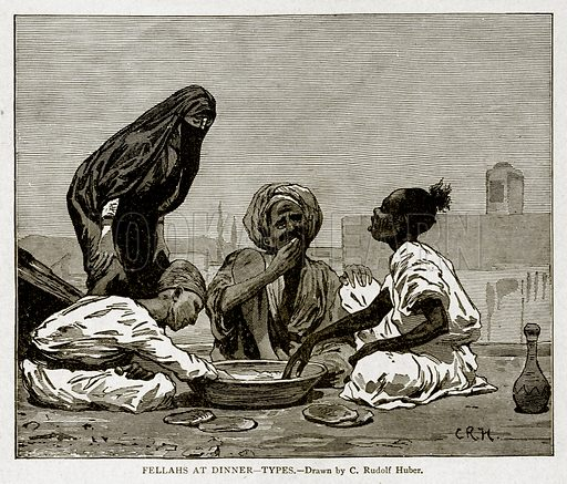 Fellahs at Dinner--Types. Illustration from With the World's People by John Clark Ridpath (Clark E Ridpath, 1912).