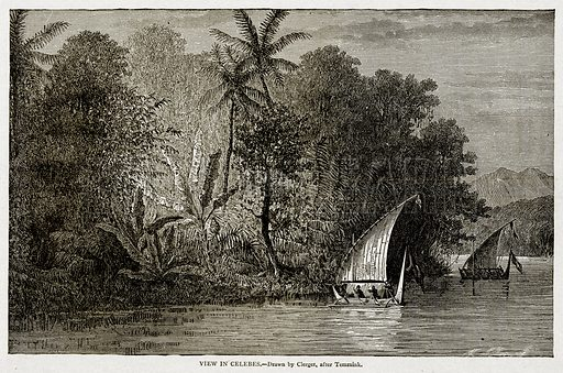 View in Celebes. Illustration from With the World's People by John Clark Ridpath (Clark E Ridpath, 1912).