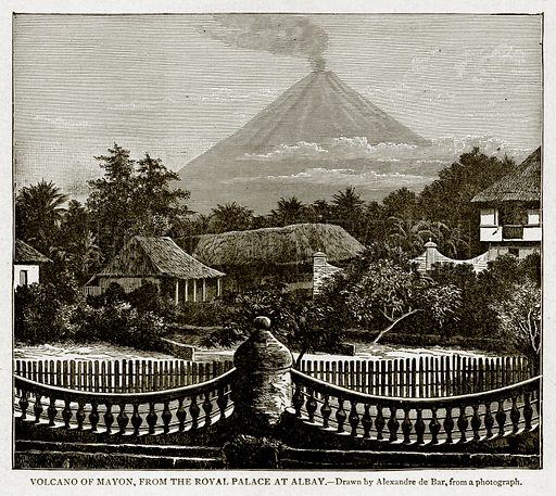 Volcano of Mayon, from the Royal Palace at Albay. Illustration from With the World's People by John Clark Ridpath (Clark E Ridpath, 1912).