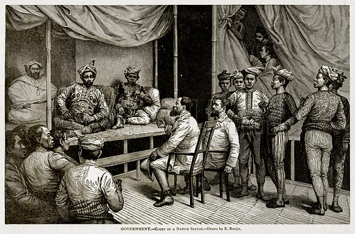 Goverment.--Court of a Native Sultan. Illustration from With the World's People by John Clark Ridpath (Clark E Ridpath, 1912).
