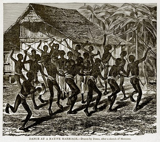 Dance at a Native Marriage. Illustration from With the World's People by John Clark Ridpath (Clark E Ridpath, 1912).