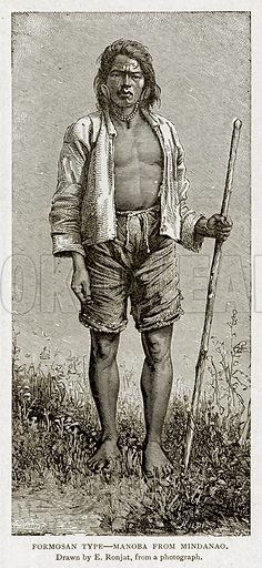 Formosan Type – Manoba from Mindanao. Illustration from With the World's People by John Clark Ridpath (Clark E Ridpath, 1912).